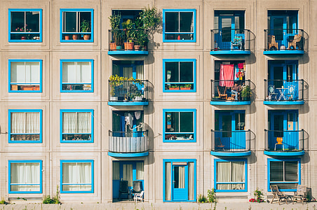 brown and blue Building with patios