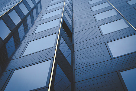 Details from an angled building