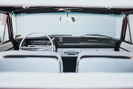 white and black vehicle interior