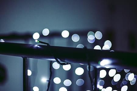 Black Metal Balustrade With String Lights