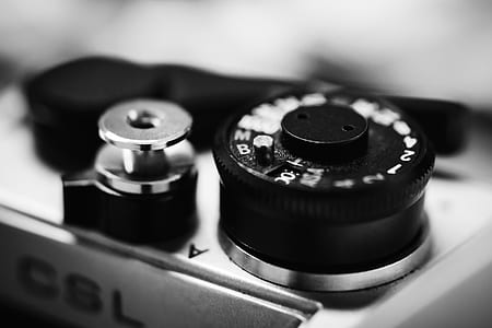 Greyscale Photography of Camera