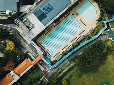 aerial view of top of in-ground swimming pool