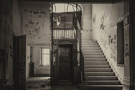 grayscale photography of stairway