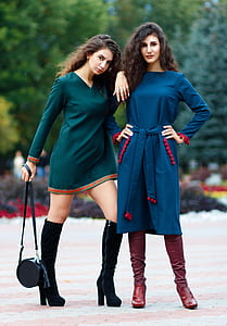 women's blue and green long-sleeved dress
