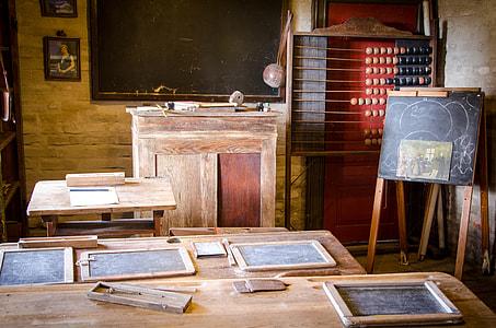 brown wooden desk in front of chalkboard