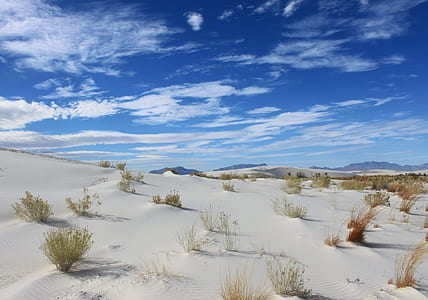 white and brown desert field under cloudy sky