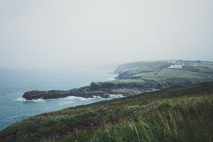 landscape, photo, mountain, sea, nature, coastline