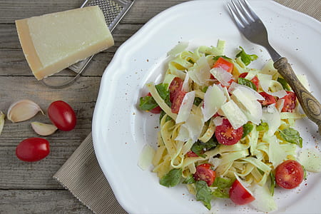 vegetable salad on table with fork