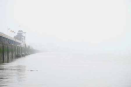 Misty, City, Antwerp, water, wall, dock