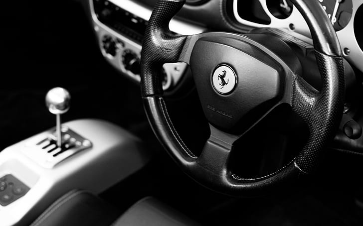 black Ferrari car steering wheel