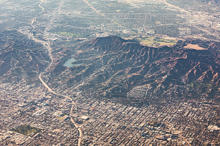 Hollywoodland Hills with Hollywood Sign and Reservoir