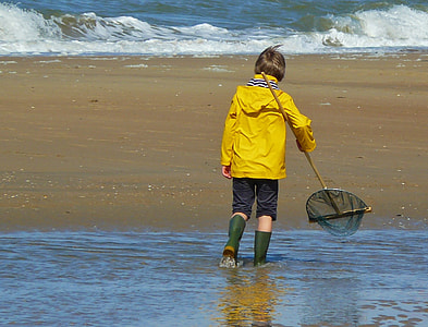 child walking on shore holding scoop net