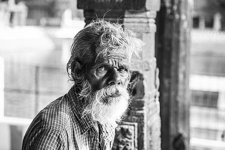 Grayscale Photo Man's Portrait