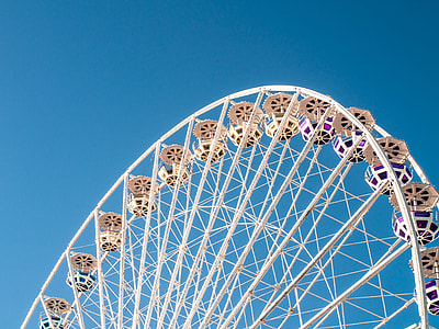 photo of white Ferris wheel during clear sunny skies