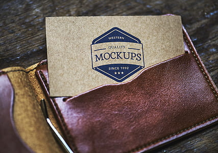 Card On Brown Leather Bifold Wallet