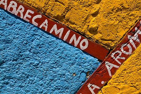 Close-up shot of a colourful wall on Callejon-De-Hamel, Havana, Cuba