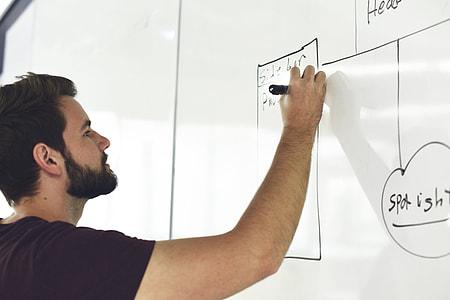 man writing on dry eraseboard