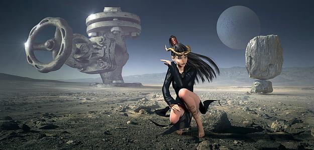 woman in black suit 3D illustration