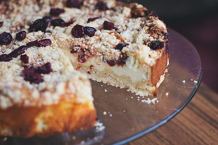 slice cake on glass plate