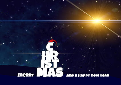 photo of Merry Christmas and a Happy New Year text illustration