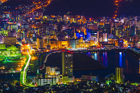 Night view of Nagasaki in Japan
