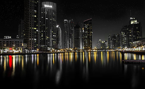 photo of City Buildings during night time