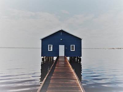 photo of dock towards blue house