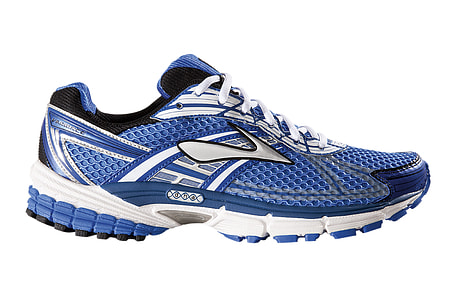 unpaired blue and silver Brooks running shoe