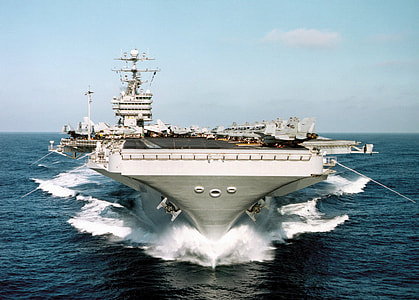 white and black aircraft carrier during daytime