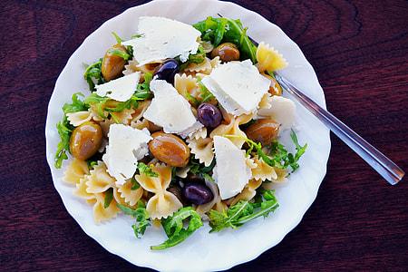 Pasta salad on dinner plate