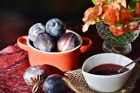 prunes on round red casserole