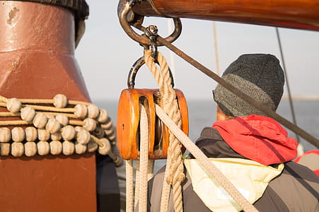 Brown Rope on a Pulley