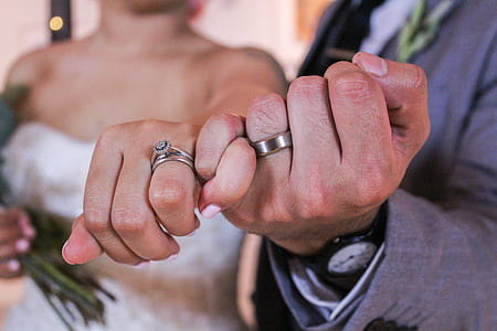 photograph of couple hand knot with rings