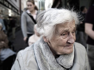 woman with grey jacket