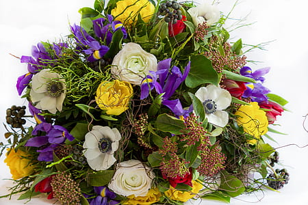 photo of white, yellow, and purple petaled flowers bouquet
