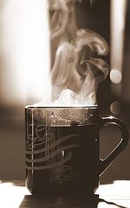 black mug with smoke