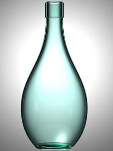 empty blue glass bottle