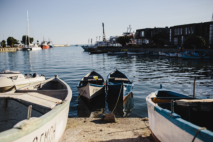Fishing boats berthed in the marina of Old Town of Nessebar, Bulgaria