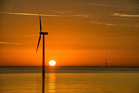 sunset, orange, wind turbine, sea, ocean