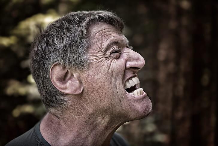 man mouth open photo