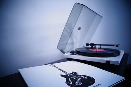 white and black vinyl player