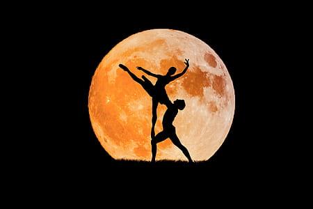 silhouette ballerina in moon