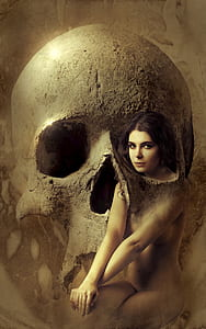 skull with naked woman wallpaper