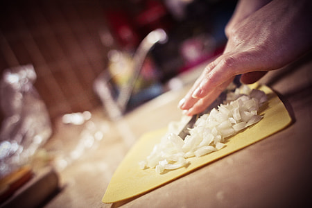 Slicing Onions in the Kitchen