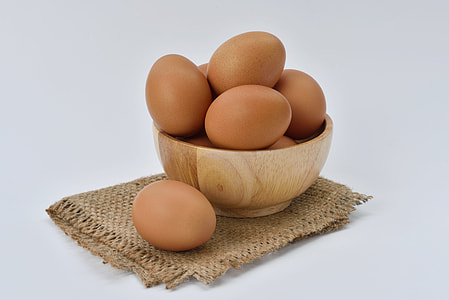 organic eggs on the bowl