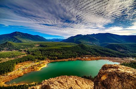 birds eye view of lake