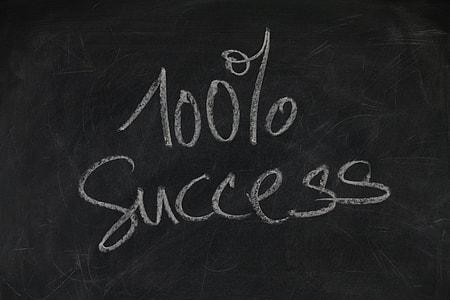 100% Success text