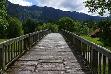 gray bridge within mountain range