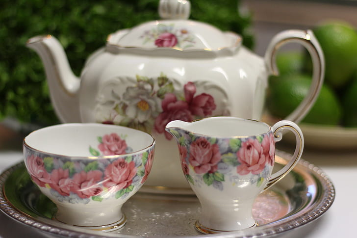 white-and-multicolored floral ceramic tea set of 3