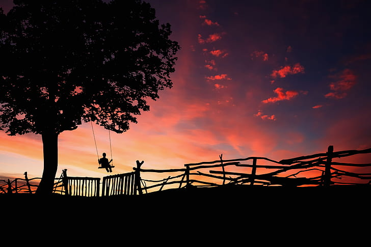 silhouette of person on swing during twilight